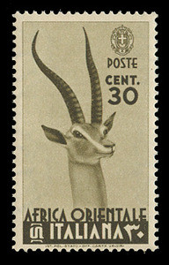 ITALIAN EAST AFRICA Scott #  8, 1938 30c olive brown Grant's Gazelle