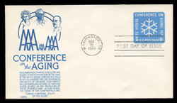 U.S. Scott #U564 8c Conference on the Aging Envelope First Day Cover.  Anderson cachet, BLUE variety.