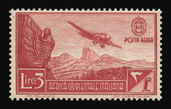 ITALIAN EAST AFRICA Scott # C 8, 1938 3.00 lire carmine lake Airplane/Mountains