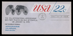 U.S. Scott #UC50 22c U.S.A. Air Letter Sheet First Day Cover.  Anderson cachet, BLACK variety.