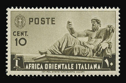 ITALIAN EAST AFRICA Scott #  4, 1938 10c olive brown Statue of the Nile