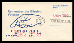 U.S. Scott #U600 18c Blinded Veteran Envelope First Day Cover.  Andrews cachet.