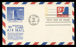 U.S. Scott #UXC10 9c Eagle Postal Card First Day Cover.  Anderson cachet, BLUE variety.