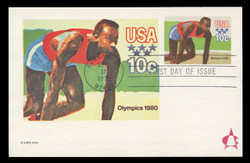 U.S. Scott #UX80 10c 1980 Summer Olympics Postal Card First Day Cover.  Andrews cachet.