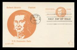 U.S. Scott #UX92 (13c) Robert Morris Postal Card First Day Cover.  Andrews cachet.