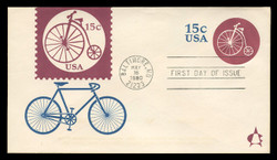 U.S. Scott #U597 15c Bicycle Riding Envelope First Day Cover.  Andrews cachet.