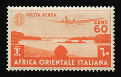 ITALIAN EAST AFRICA Scott # C 3, 1938 60c red orange Airplane over Lake Tsana