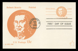 U.S. Scott #UX93 13c Robert Morris Postal Card First Day Cover.  Andrews cachet.