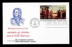 U.S. Scott #UX98 13c Oglethorpe Postal Card First Day Cover.  Ed Hacker (Centennial) cachet.