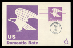 """U.S. Scott #UX88 (12c) """"B"""" Eagle Postal Card First Day Cover.  Andrews cachet."""