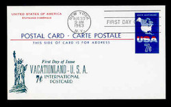 U.S. Scott #UX49 7c Map of the U.S.A. Postal Card First Day Cover.  Centennial cachet.