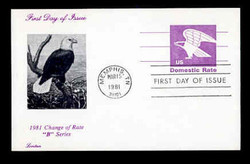 "U.S. Scott #UX 88 (12c) ""B"" Eagle Postal Card First Day Cover.  Lorstan cachet."
