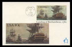 U.S. Scott #UX84 10c Landing of Rochambeau Postal Card First Day Cover.  Andrews cachet.