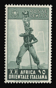 ITALIAN EAST AFRICA Scott #  5, 1938 15c slate green Fascist Legionary