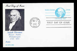 U.S. Scott #UX 89 12c Isaiah Thomas Postal Card First Day Cover.  Lorstan cachet.