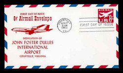 U.S. Scott #UC36 8c Jet Envelope First Day Cover.  Centennial cachet - Chantilly, VA Cancel.
