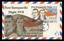 U.S. Scott #UXC19 28c Transpacific Flight Airmail Postal Card First Day Cover.  Andrews cachet.