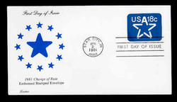 U.S. Scott #U593 18c Star Envelope First Day Cover.  Lorstan cachet.
