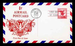 U.S. Scott #UXC 4 6c Eagle Postal Card First Day Cover.  Centennial cachet.