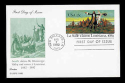 U.S. Scott #UX 95 13c LaSalle/Louisiana Postal Card First Day Cover.  Lorstan cachet.