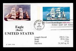 U.S. Scott #UX 76 14c Coast Guard Eagle Postal Card First Day Cover.  Sarzin Quadrocolorplus cachet.