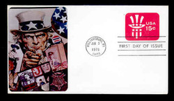 U.S. Scott #U581 15c Uncle Sam Hat Envelope First Day Cover.  Sarzin Quadrocolorplus cachet.