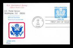 U.S. Scott #UZ2 13c Official Mail Postal Card First Day Cover.  Lorstan cachet.