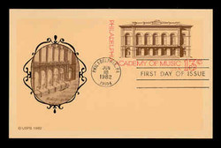 U.S. Scott #UX 96 13c Philadelphia Academy of Music Postal Card First Day Cover.  New Direxions cachet.