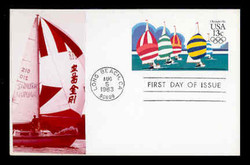 U.S. Scott #UX100 13c Olympics - Yachting Postal Card First Day Cover.  Sarzin Quadrocolorplus cachet.