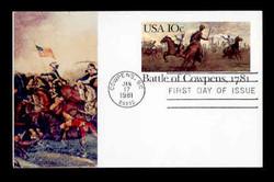 U.S. Scott #UX 87 10c Battle of Cowpens Postal Card First Day Cover.  Sarzin Quadrocolorplus cachet.