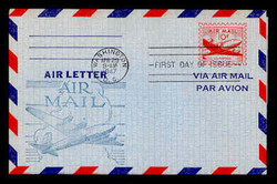 U.S. Scott #UC16 10c Plane Air Letter Sheet First Day Cover.  Day Lowry Aristocrat cachet.  Rubber Stamp.