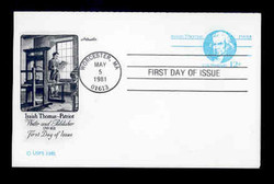 U.S. Scott #UY32a 12c Isaiah Thomas Reply Card First Day Cover.  Artmaster cachet.