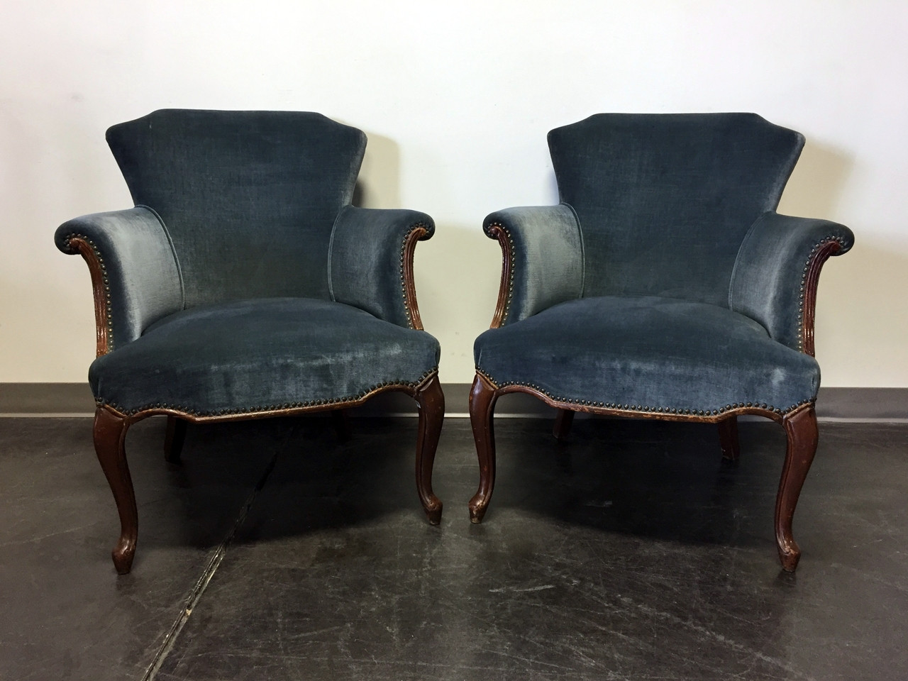sold out vintage french style club chairs with blue upholstery u0026 nailhead trim pair