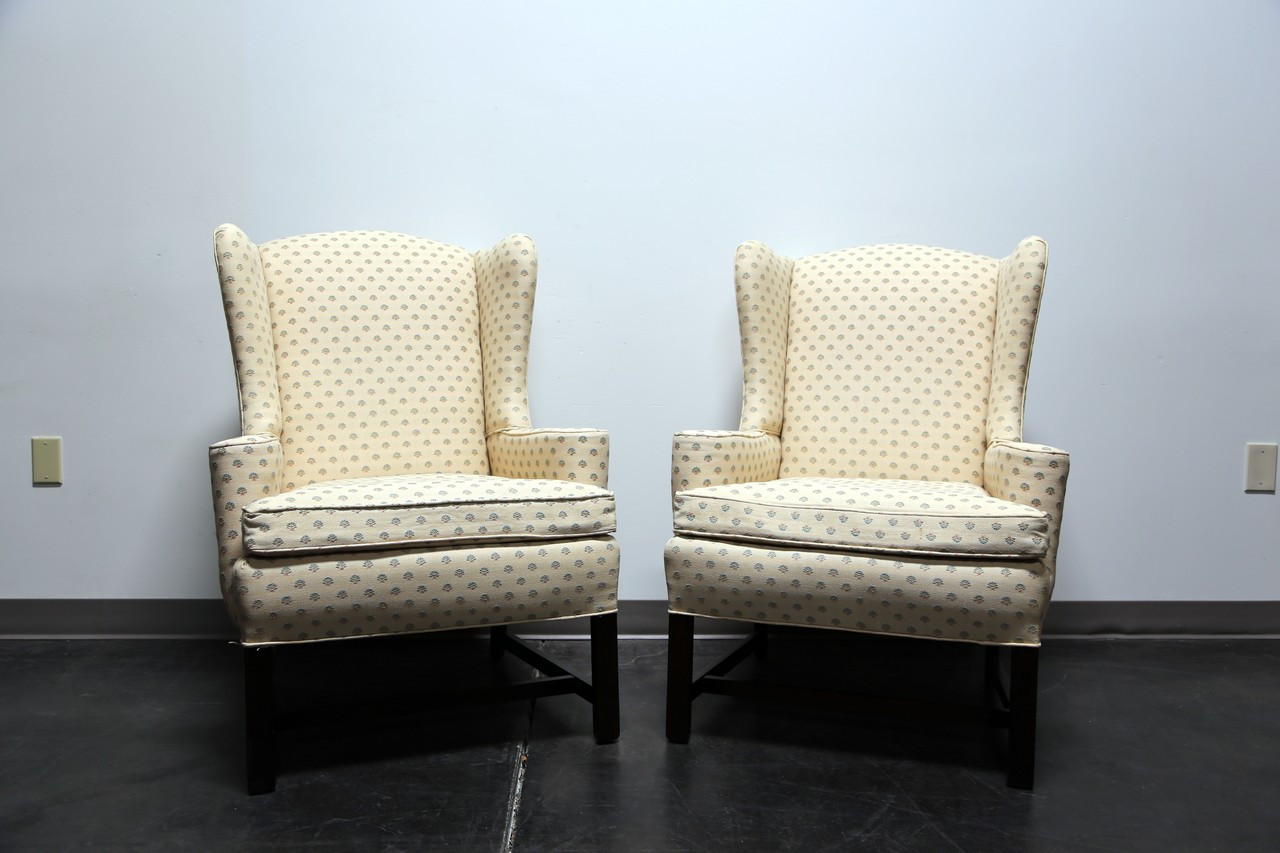 SOLD OUT   Chippendale Style Mahogany Wing Back Chairs By Conover Chair Co    Pair