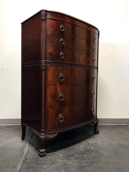 sold out carved bow front mahogany chest w winged hairy paw feet