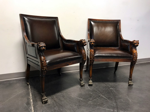 sold out theodore alexander leather cat lion head chairs w paw feet pair