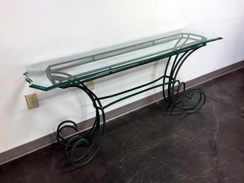 green metal u0026 beveled glass console table sofa table