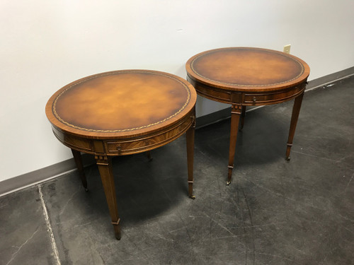 ... Vintage Heritage HENREDON Round Mahogany Leather Top Side End Tables    Pair
