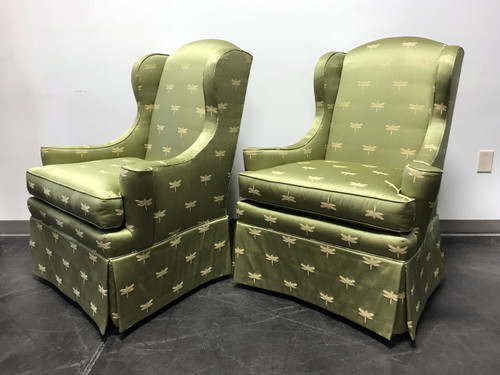 sherrill of hickory wing chairs with green dragonfly upholstery