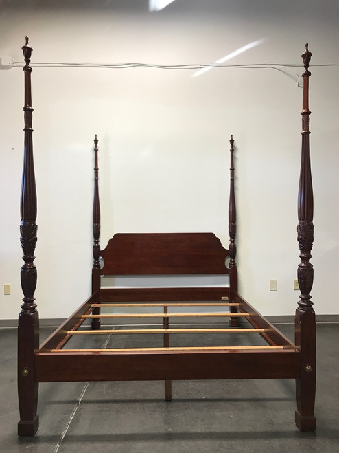 ethan allen georgian court cherry wheat carved four poster bed queen
