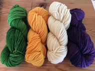 Bulky Yarn in Suffragette Colors with Local Wool