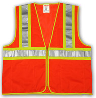 """SP V70649 4X/5X MESH Orange Polyester Safety Vest,  Two-Tone 2"""" Silver Reflective Tape with Contrasting Backing,  Single Horizontal Stripe,  Zipper Closure, 4 Interior Pockets, ANSI Class II"""