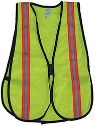 SP 9802 Lime  Mesh Vest -- Orange/Silver/Orange Triple Reflective Tape XL
