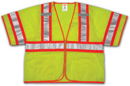 SP V70332 2X-3X Lime Mesh Polyester Safety Vest, 4 Pockets, ANSI Class III