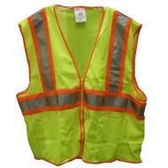 SP V70642 4X-5X Lime Mesh Polyester Safety Vest, 4 Pockets, ANSI Class II
