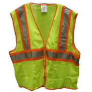 SP V70642 2X-3X Lime Mesh Polyester Safety Vest, 4 Pockets, ANSI Class II