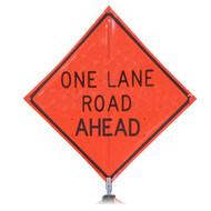 "B DG4848OLRAOC DG ""One Lane Road Ahead"" 3M Diamond Grade 48'' Roll-Up Sign"
