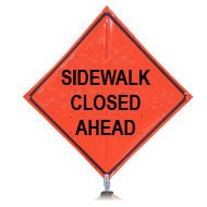 "B DG4848SWCA ""Sidewalk Closed Ahead"" 3M Diamond Grade 48'' Roll-Up Sign"