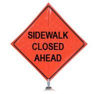 "B DG4848SWCA ""Sidewalk Closed Ahead"" 3M Diamond Grade 48'' Roll-Up Sign"