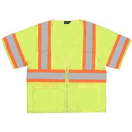 Lime ANSI Class 3 Mesh Vest  100 Percent polyester mesh with zipper front closure.